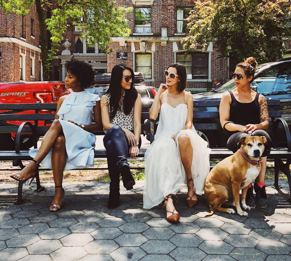 LifeByVal ifestyle and parenting blog. Image: Four women on a city bench with one dog.